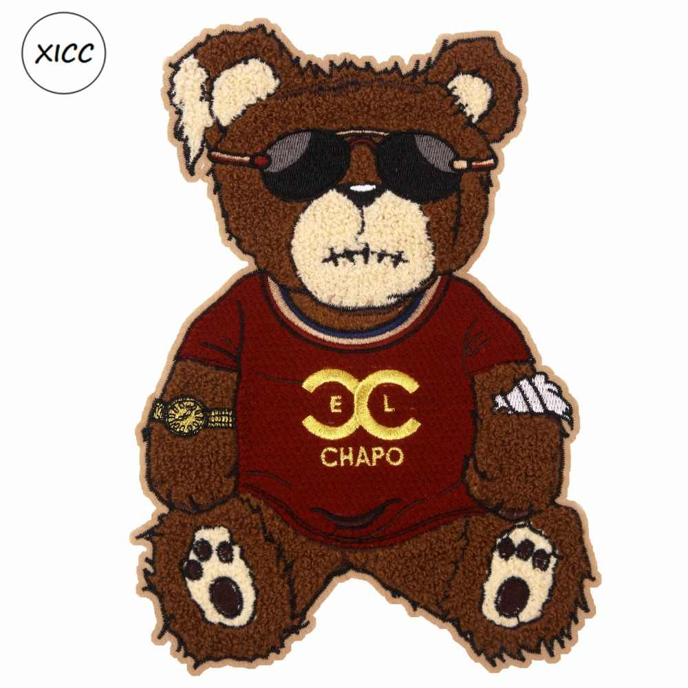 XICC Asciugamano Grande Formato Del Ricamo Dell'orso Del Fumetto di Patch Ciniglia Personalizzato Sew on Patch Super Cool Occhiali Da Sole Patchwork Sticker Appliques