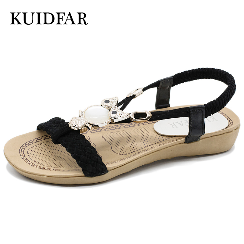 KUIDFAR 2018 Fashion Women Sandals Summer Gladiator Shoes Ladies Bohemia Shoes Woman Comfort Beach Shoes Flat Sandals Red