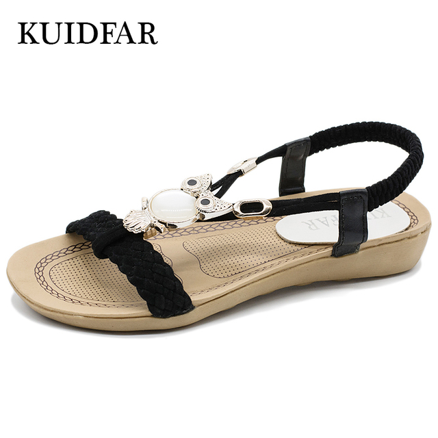 52e6768e9721 KUIDFAR 2018 Fashion Women Sandals Summer Gladiator Shoes Ladies Bohemia Shoes  Woman Comfort Beach Shoes Flat Sandals Red