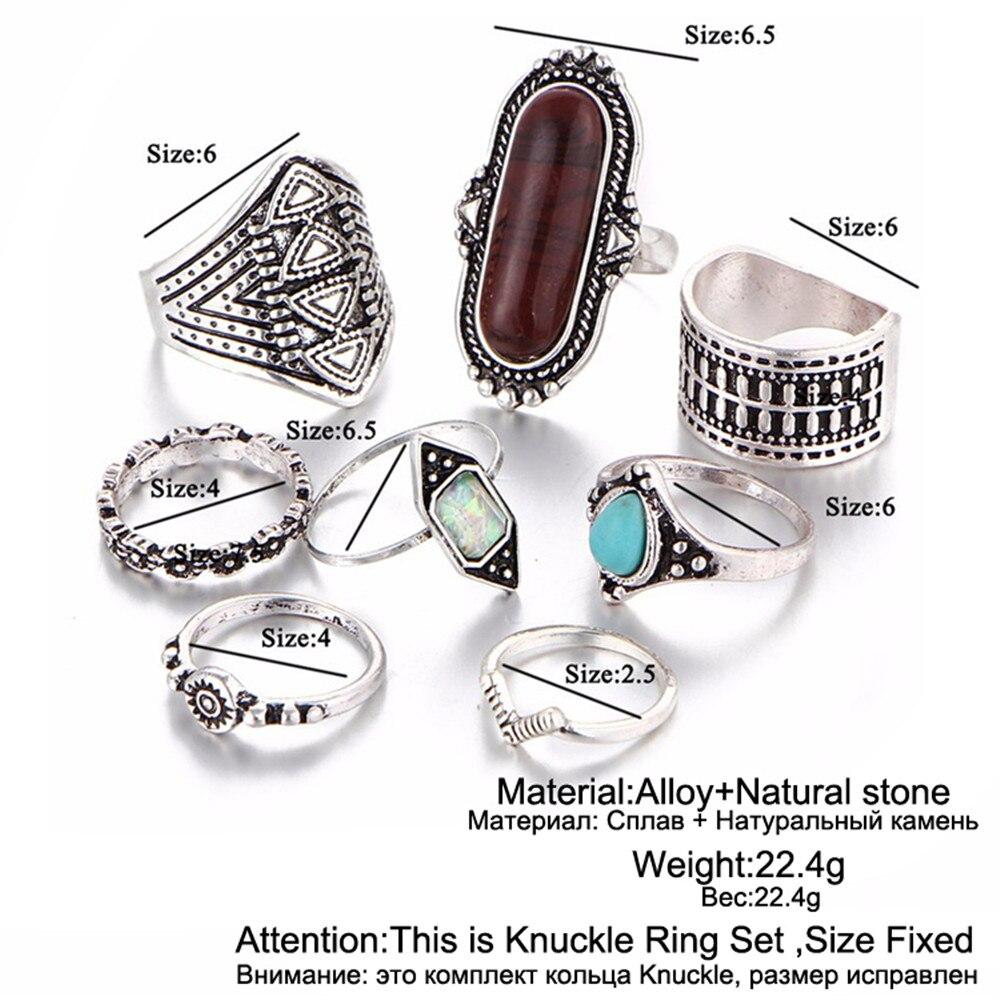 17KM Boho Smycken Sten Midi Ring Sets för Kvinnor Anel Vintage - Märkessmycken - Foto 4