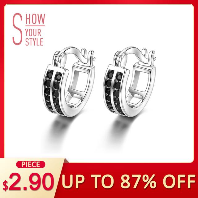 [BLACK AWN] Vintage 925 Sterling Silver Earrings Black Spinel Hoop Earrings for Women Fine Silver 925 Jewelry Bijoux I019