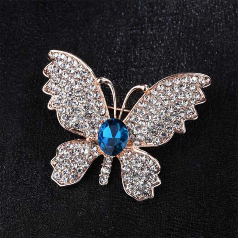 WKOUD Spilli e Spille per Hijab Spilla Vintage di Farfalla Spilla per Le Donne Grande Blu di Pietra di Cristallo Insetto Abito T Shirt gioielli