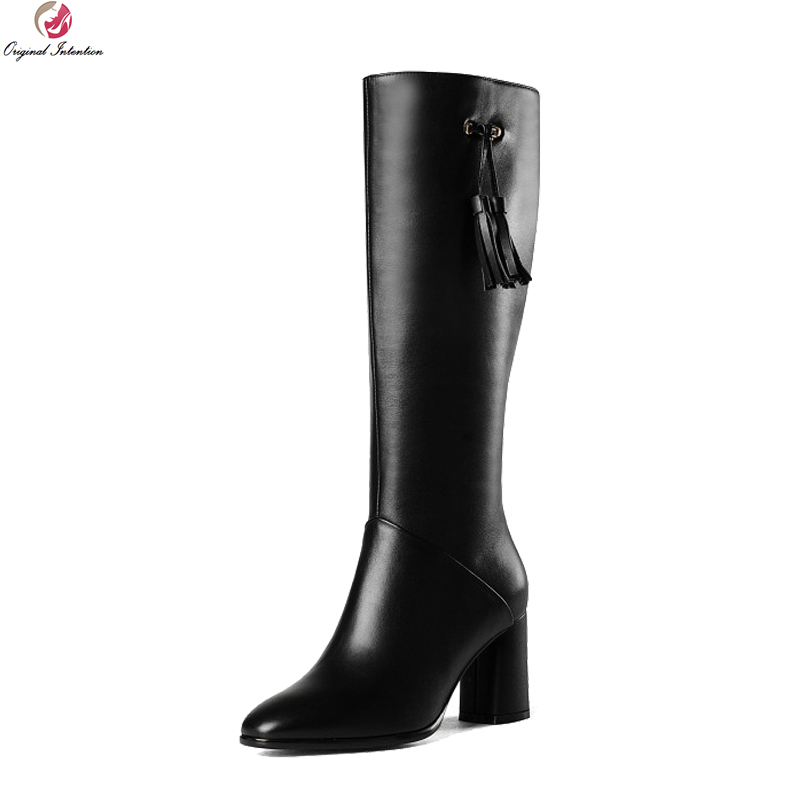 Original Intention Concise Women Knee High Boots Cow Leather Fringe Pointed Toe Square Heels Boots Shoes Woman US Size 4-8.5 original intention high quality women knee high boots nice pointed toe thin heels boots popular black shoes woman us size 4 10 5