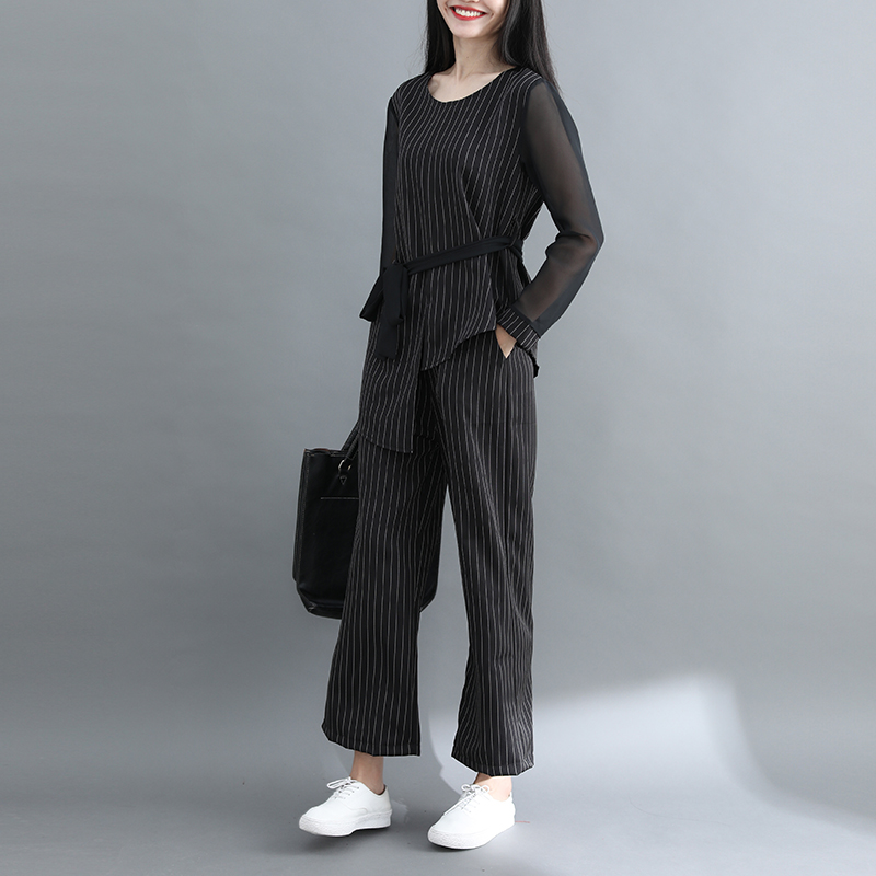 Striped Two Piece Sets Women Long Sleeve Blouses With Belt And Wide Leg Pants Suits Spring Autumn Casual Elegant Ol Style Sets 31