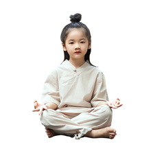 Kids Taichi Kungfu Uniforms Yoga Set Linen Loose Yoga Pant Bloomers Yoga Shirt Girls Boy Casual Meditation Outfit Set Sportswear women yoga set tai chi kungfu meditation uniforms linen chinese traditionl loose wide yoga pant yoga shirt casual outfit set