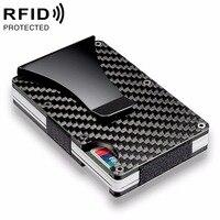 Walletes Money Clip Brand Wallets Fashion Black Silver Credit Card ID Holder With RFID Anti-thief Men Women Wallet