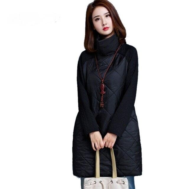 2017 Autumn Spring Women Loose Dress Turtleneck Long Sleeve A-Line Vestidos Plus Size Black Warm Autumn Loose Women Dress Tunic