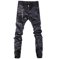 Hot Sale Fashion Men Jeans Leather Pants Denim Stylish Trousers Black Color Size 28 36
