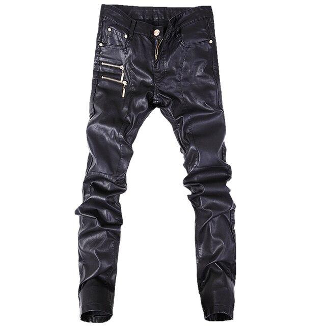 Hot sale fashion men jeans leather pants denim stylish trousers black color size 28-36