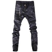 Hot Sale Fashion Men Jeans Leather Pants Denim Stylish Trousers Black Color Size 28 36