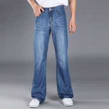 2019 Mens Flared Jeans Boot Cut Leg Straight Fit Male Designer Classic Blue Flare Denim Pants Bell Bottom Homme