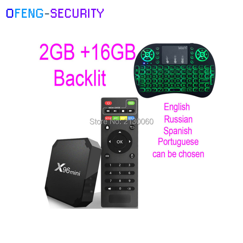Original X96mini Android 7.1 With 2GB+16 GB Backlit Smart TV BOX Quad Core Amlogic S905W  Support 2.4 WIFI+IR Cable