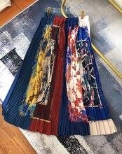 SE 19 Summer Printing Pleated High Waist Ruffle Plus Size Skirt Long skirt Saia Bohemian Tutu Street Style self belt ruffle waist high split skirt