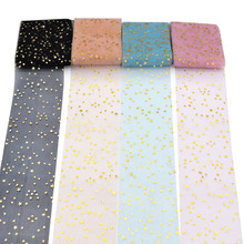 5 meters/roll 6cm Glitter Star Tulle Roll DIY Pompoms Skirt Bow Cake Topper Tutu Soft Squine Wedding Birthday Decoration