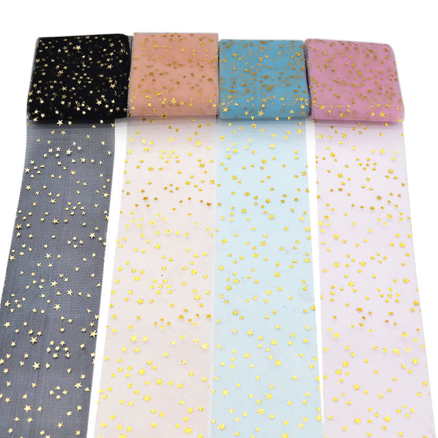 5 meters/roll 6cm Glitter Star Tulle Roll DIY Pompoms Skirt Bow Cake Topper Tutu Soft Squine Tulle Wedding Birthday Decoration