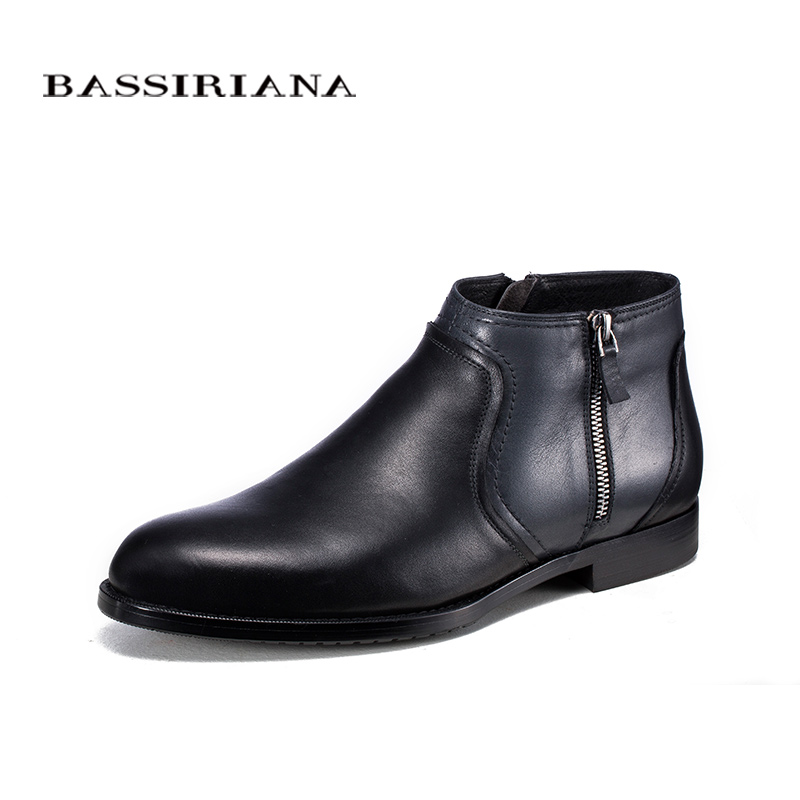 BASSIRIANA brand Quality Genuine leather winter boots men Warm shoes men casual handmade round toe zip Russian size 39-45 hot sale mens italian style flat shoes genuine leather handmade men casual flats top quality oxford shoes men leather shoes