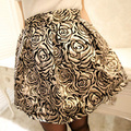 Newest Women's Autumn Gorgeous All-match Half-length Bag Short Skirt Golden And Silver Rose Embroidery Flower,JW-015