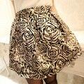Otoño nuevas Mujeres Hermosa del todo-Fósforo Medio-largo Bolsa de Falda Corta de Oro Y Plata Flor color de Rosa Bordado, JW-015