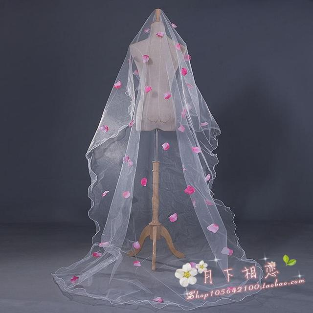 cheap bridal veil Appliques The bride married 3 meter ultra long veil train wedding hair accessory pink petal wedding veil china