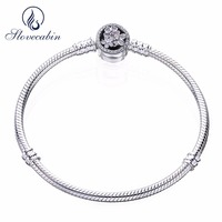 Slovecabin Moments Silver Bracelet With Poetic Blooms Clasp 925 Sterling Silver Snake Bracelet For Women Fits For DIY Beads