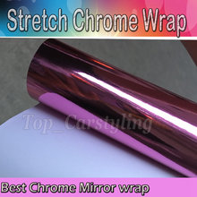 Pink Stretchable Chrome Mirror Car Wrap PROTWRAPS  Film Full Car COVERING Styling foil with air Bubble Free Size:1.52*20M/Roll
