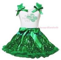 Mijn 1ST St Patrick Clover Wit Top Groen Bling Pailletten Meisjes Rok Set 1-8Y