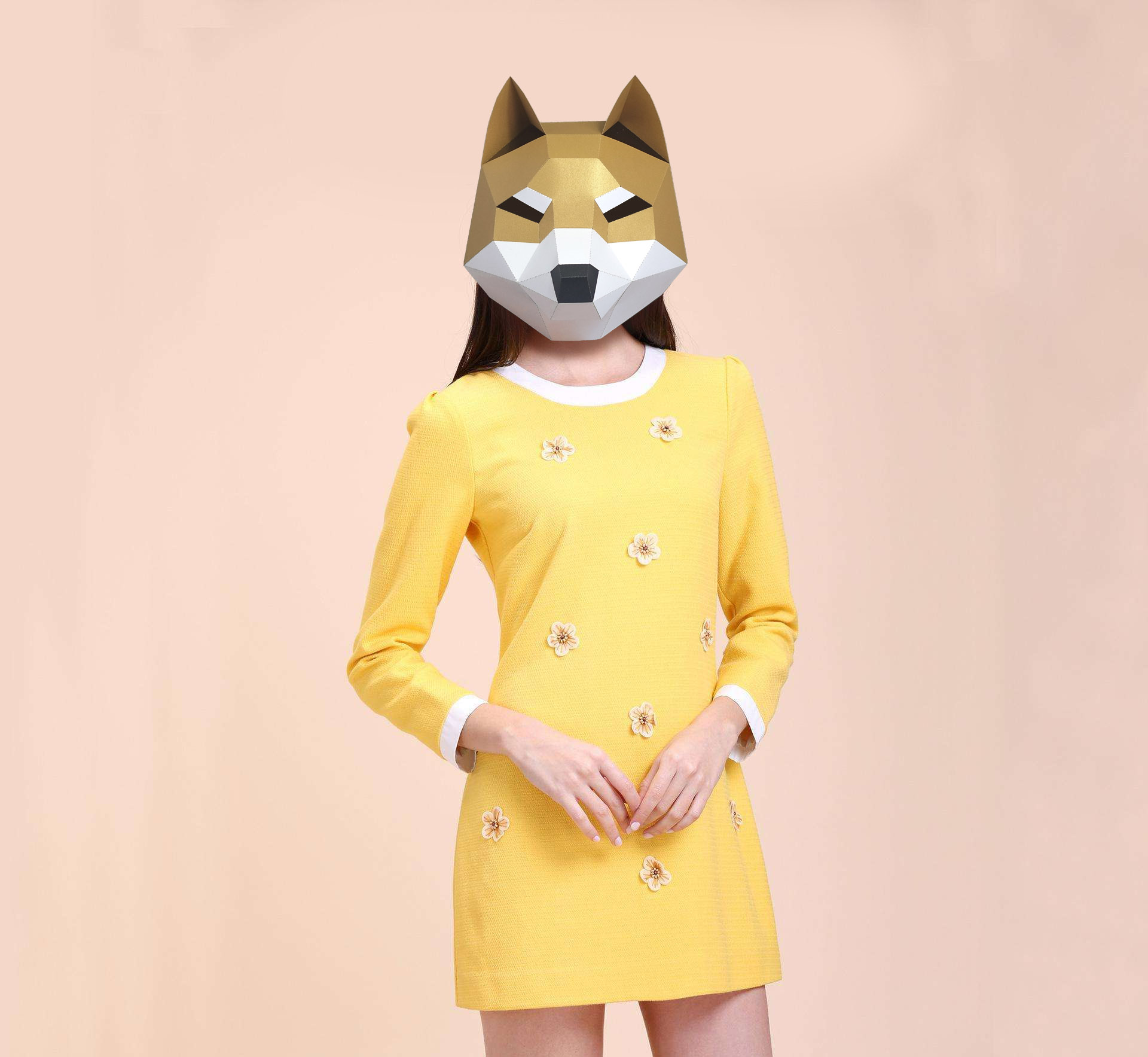 3D Paper Mask Fashion Cute Dog Animal Costume Cosplay DIY Paper Craft Model Mask Christmas Halloween Prom Party Gift
