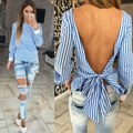 European Fashion Women Blouse Bow Sexy Backless Striped Blouse Long Sleeve shirt Cut Out 2017 Summer Beach Shirt
