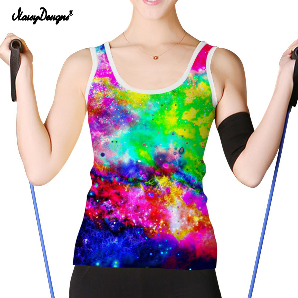 NoisyDesigs Sexy Women Tank Top Multicolor Galaxy Star 3D Vest Top Summer Sleeveless Tank Top Black Casual Women Tshirts