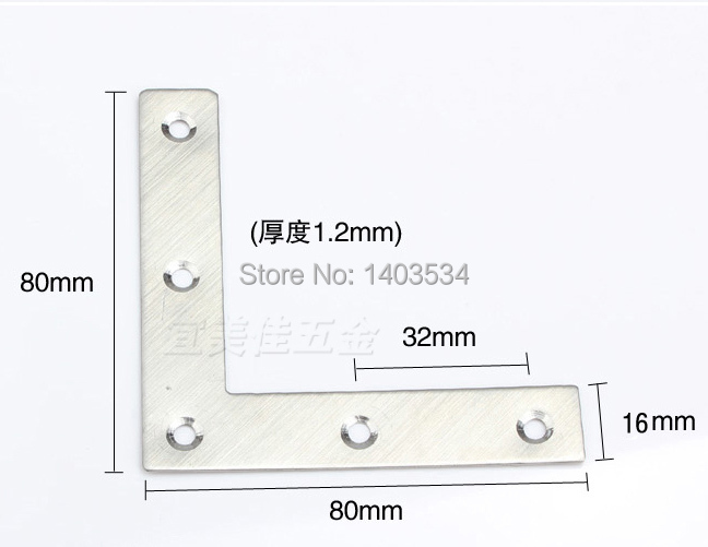 2pcs 80 80 16mm stainless steel plain angle bracket satin finish frame board support