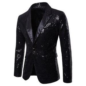 Image 4 - Gold Pailletten Smoking Blazer Männer Bühne Disco Nachtclub Herren Blazer Anzug Jacke Slim Fit One Button Shiny Glitter Blazer Masculino