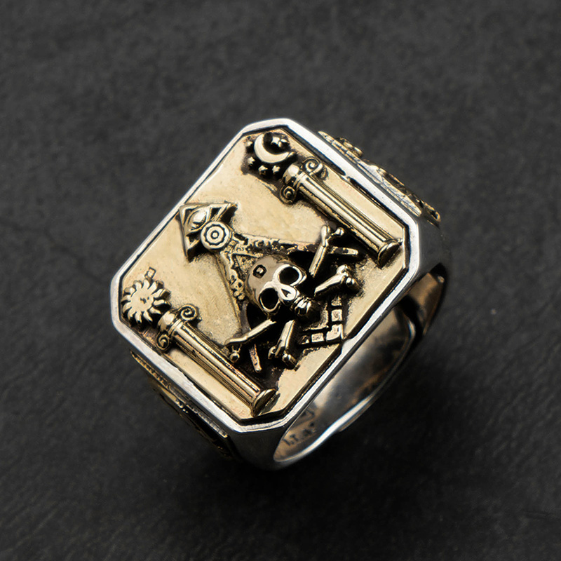 Skull MasonicRing 925 Silver Ring For Men Omniscient eye and freemason Totem Jewelry mygrillz
