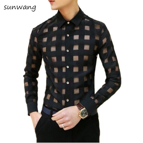 c289d03c79f 2019 Spring Men Shirt Korean Mens See ttrough Lace Dress Shirts Men s Sexy  Fashion Cool Men Club Wear Long Sleeve Plaid shirts-in Casual Shirts from  Men s ...