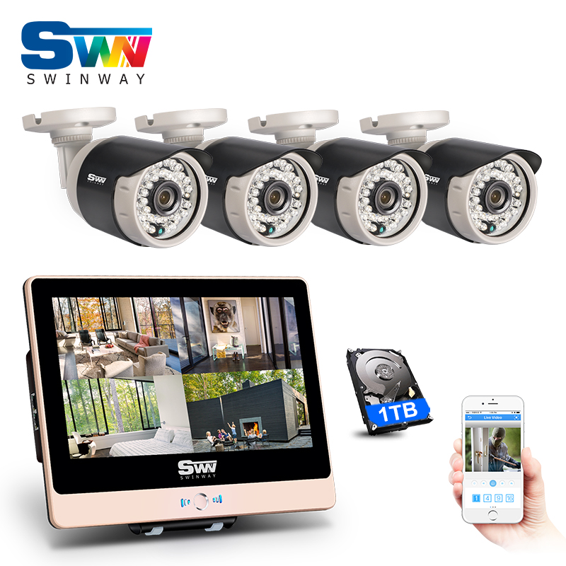 New Arrival 4CH Plug And Play 2 0MP POE CCTV Kit With 12 LCD 1080P HD