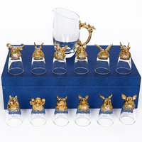 1SET 400ML Wine Separator And 25ML Shot Glass Unique Design Crystal Glass For Agave Brandy VODKA Gin Wedding Decorations Gift