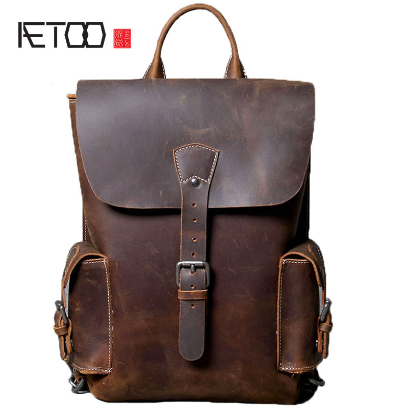 AETOO Original new personality retro first layer of leather backpack women's leather backpack literary leisure college wind wild pinsen fashion women shoes summer breathable lace up casual shoes big size 35 42 light comfort light weight air mesh women flats