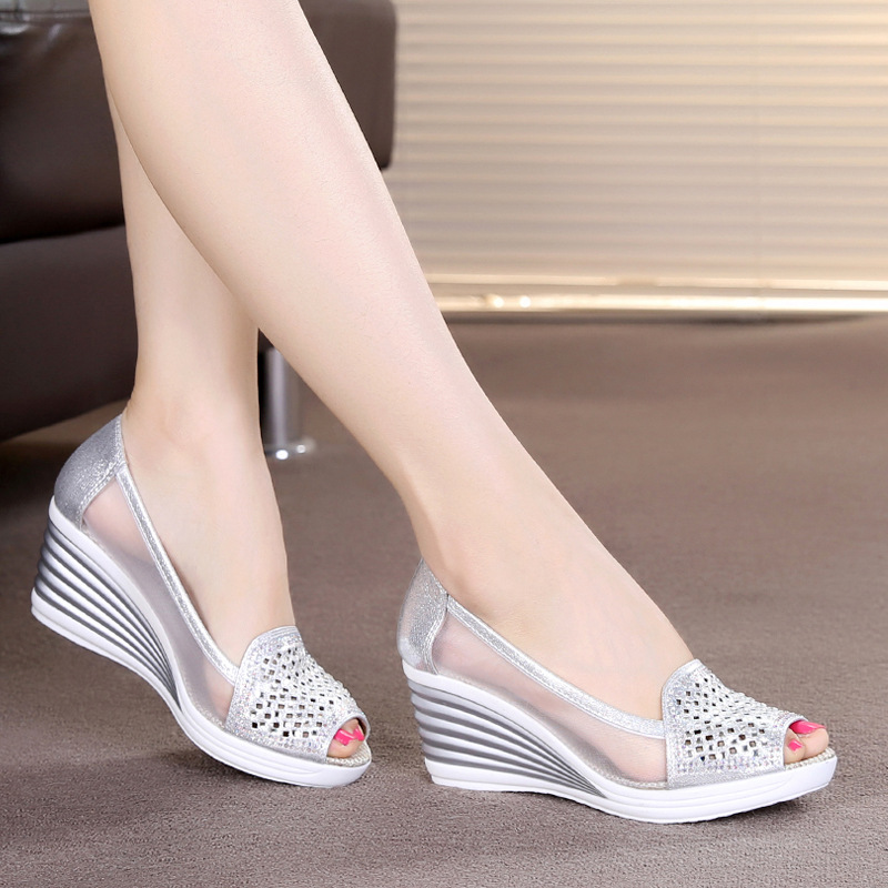 Wedge Sandals Shoes Rhinestones Fish-Mouth Women's Summer New OL Stan Shark Hollow-Net