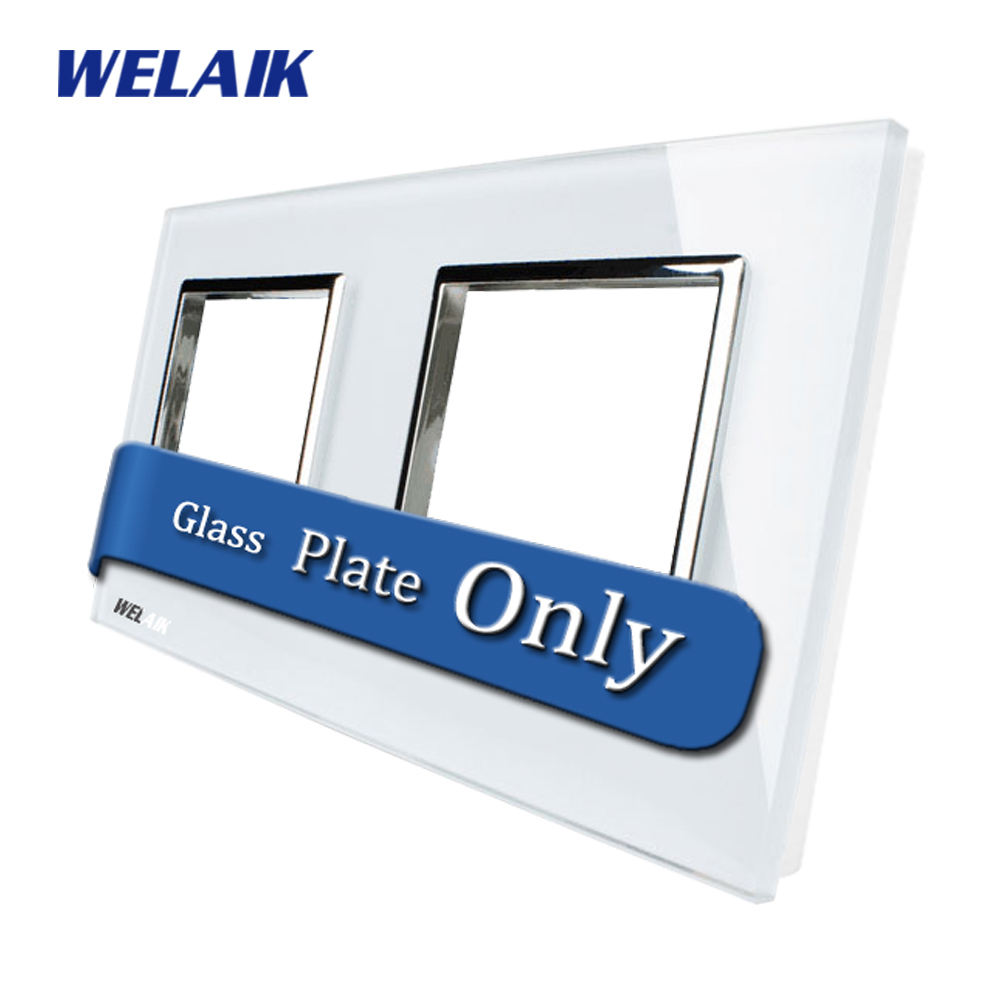 WELAIK  Touch Switch DIY Parts  Glass Panel Only of Wall Light Switch Black White Crystal Glass Panel Square hole  A288W/B1 welaik crystal glass panel switch white wall switch eu remote control touch switch light switch 1gang2way ac110 250v a1914w b