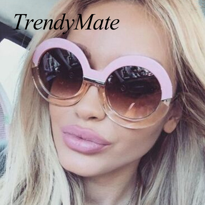 2017 Big Round Sunglasses Women Luxury Arrows SKY <font><b>BLUE</b></font> Sunglasses Brand Designer <font><b>Circle</b></font> Vintage Retro Sun Glasses Female 284M