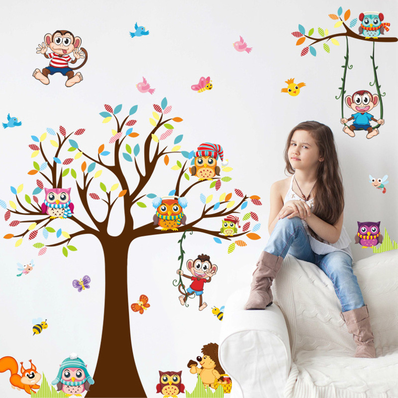 Bahan Gambar Anak Tk Ruang Tamu Besar Pohon Owl Wall Sticker Pvc Bahan Diy Hewan Monyet Dinding Decals Untuk Ruang Tamu Kamar Anak Anak Tk Wall Decor Stiker Wall Stickers Aliexpress