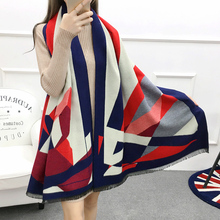 Women Scarves 190*65cm Female Color Striped Patchwork Shawl Autumn Winter Cashmere Scarves Fashion Warm Thick Double Sided Scarf