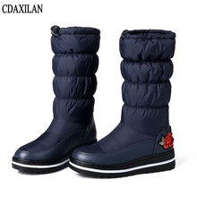 CDAXILAN new arrival snow boots women down thickened plush warmth legs mid-calf mid heel wedge shoes ladies winter