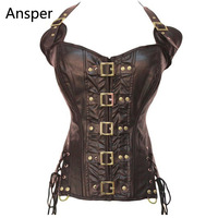 Black Crazy Hot Steampunk Clothing Women Female Corset Gothic Lingerie Sexy Buckle Up Halter Waist Corsets