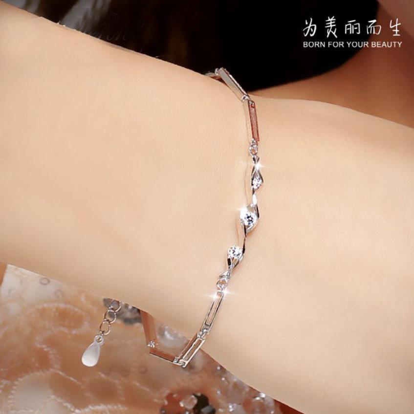 Everoyal Exquisite Zircon Geometric Bracelets For Women Jewelry Charm Lady 925 Silver Bracelets Accessories Female Bijou Trendy in Charm Bracelets from Jewelry Accessories