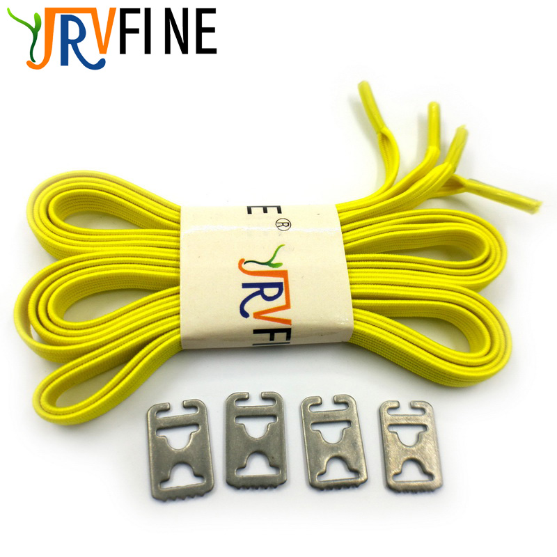 1 Pair Yellow High Quality Elastic Lazy Shoelaces Metal Shoe Buckle Lock No Tie Shoe Laces Locking All Shoes Sneaker Adult Kids n 1 50 sets orange yellow buckle elastic shoes buckles hole plastic stopper toggle clip apparel shoelaces sportswear accessorie