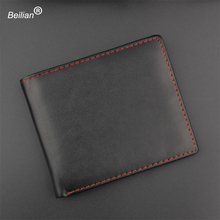Beilian Small Vintage Wallet Brand Høy kvalitet PU Leather Black Men Wallets Kort Tynn Mynt Pung Wallet Card Holder Wallets