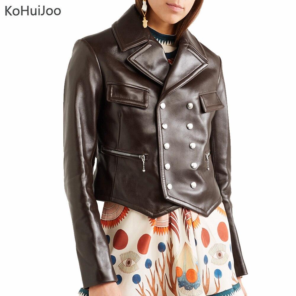 KoHuiJoo New Arriver 2019 Winter Faux Leather Jacket Women Casual Basic Long Sleeve Zipper Coat Slim PU Jackets Double Breasted