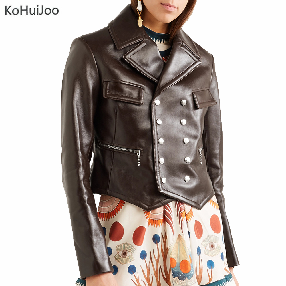 KoHuiJoo New Arriver 2019 Winter Faux   Leather   Jacket Women Casual Basic Long Sleeve Zipper Coat Slim PU Jackets Double Breasted