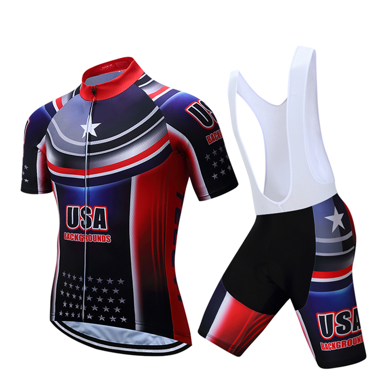 USA Cycling Set Men's Cycling Jersey & Padded (Bib) Shorts Kit S-4XL frommer s® usa 2000