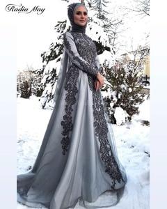 Image 2 - Vestidos de Noche grises y musulmanes hiyab de manga larga, vestido árabe para baile de graduación, apliques de Dubái con cuentas para mujer, vestidos formales de fiesta de boda 2019